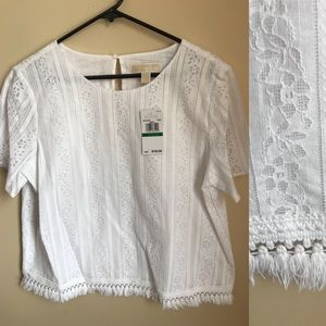 NWT Michael Kors white lace top